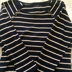Talbots 3/4 Sleeve Navy Striped Top